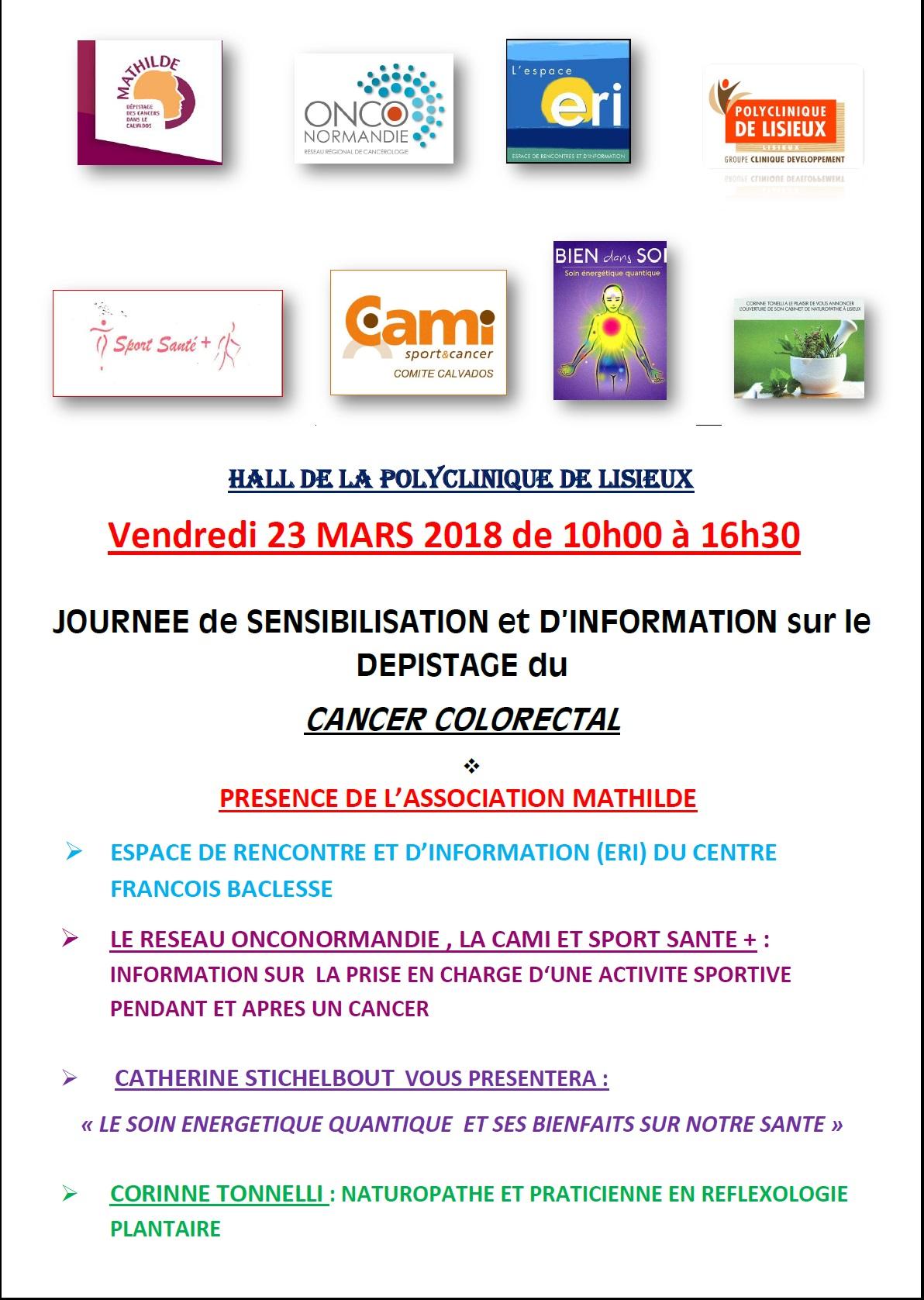 Vendredi 23/03/2018 : Stand d'information Polyclinique de Lisieux