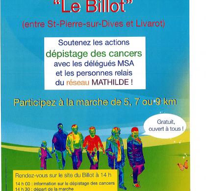 SAMEDI 14 AVRIL 2018 : Participez à une MARCHE sur le site «LE BILLOT»